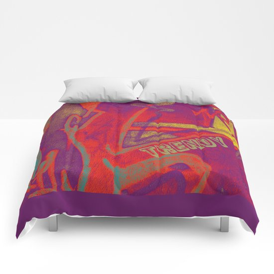 Cool TRENDY script graffiti style print in bold mauve purple, orange tangerine, yellow, teal and red Comforters