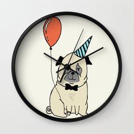 Party Pug #1 Wall Clock