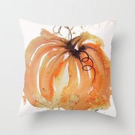 Abstract Watercolor Pumpkin Throw Pillow