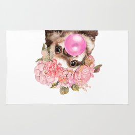 Baby Sloth with Flowers Crown Playing Bubble Gum Rug
