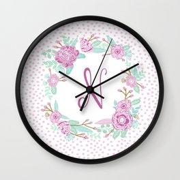 Monogram N - cute girls purple florals flower wreath, lilac florals, baby girl, baby blanket Wall Clock