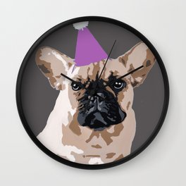 Milo on dark grey (pink) Wall Clock