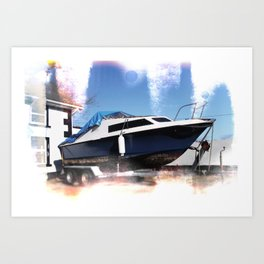 Sailing on Static Stains Art Print
