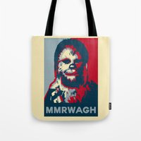 chewbacca Tote Bags featuring Chewbacca  by Ilustrachii