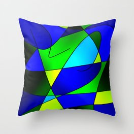 ABSTRACT CURVES #2 (Blues & Greens) Throw Pillow