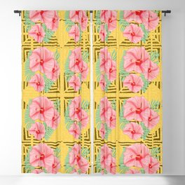 Mustard and Peach Aztec Hibiscus Blackout Curtain