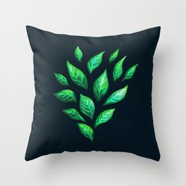 Dark Abstract Green Leaves Throw Pillow