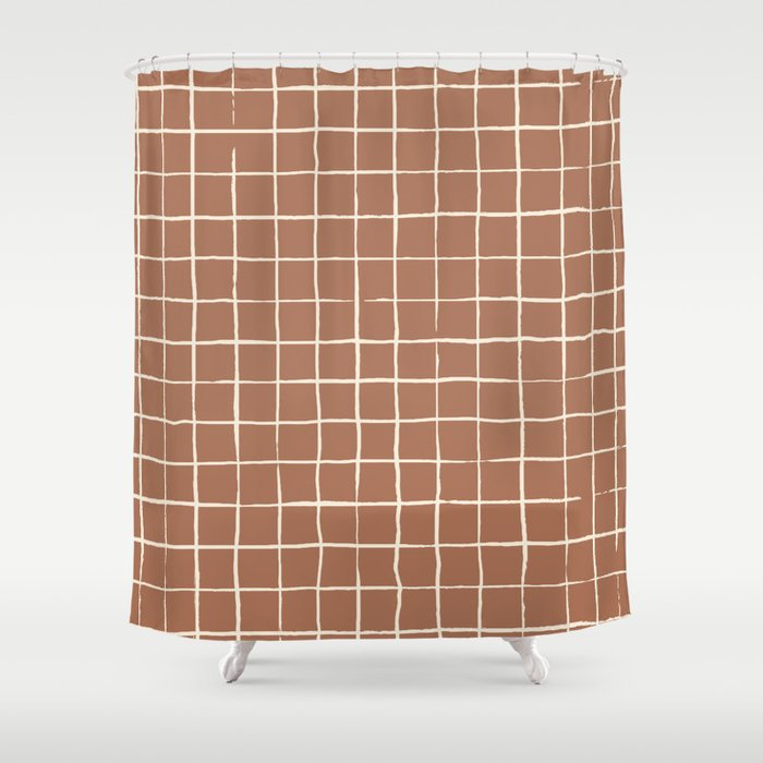 Imperfect Grid In Clay And Ivory Shower Curtain