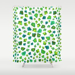 Green beautiful hand drawn gems. Shower Curtain