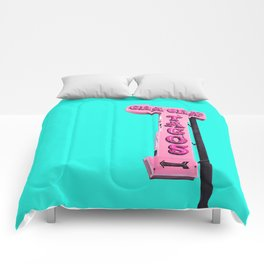 Cha-Cha's Tacos Retro Vintage Pink Sign Comforters