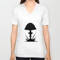 mushroom V-neck T-shirts featuring Mushroom by Kristijan D.