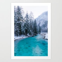 Magical river in enchanted winter forest Art Print