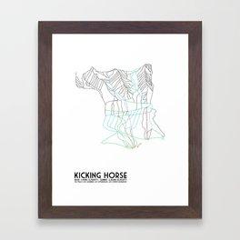 Kicking Horse, BC, Canada - Minimalist Trail Map Framed Art Print