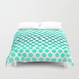 Aqua Blue, Turquoise, and Teal Dots Abstract Duvet Cover