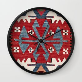 Blue Diamond Arrow Konya II // 19th Century Authentic Colorful Red Cowboy Accent Pattern Wall Clock