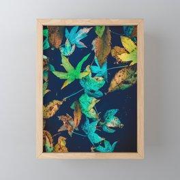 Blue Leaves Framed Mini Art Print