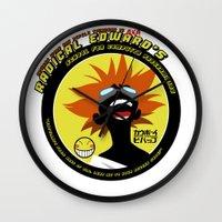 cowboy bebop Wall Clocks featuring Bebop Ed by AngoldArts