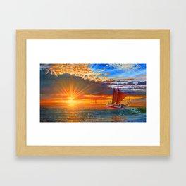 """""""Maiden Voyage of the Mo'okiha O Pi'ilani"""" Framed Art Print"""