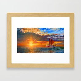 """Maiden Voyage of the Mo'okiha O Pi'ilani"" Framed Art Print"