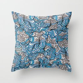Gray Day with Blue Feelings Throw Pillow