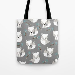 ARCTIC FOXES ON GREY Tote Bag