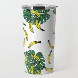 Watercolor Swiss Cheese Plant and Bananas Travel Mug