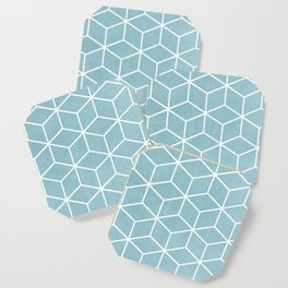 Light Blue and White - Geometric Textured Cube Design Coaster