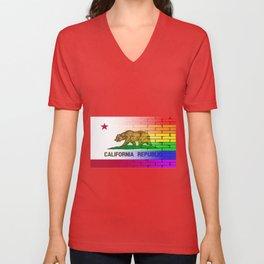 Gay Rainbow Wall California Flag Unisex V-Neck
