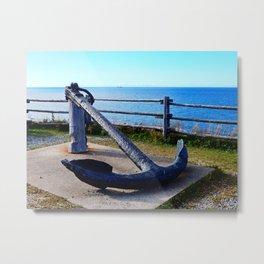 Anchor and Ship Metal Print