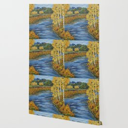 Autumn in the Mountains, Fall Decor, Aspen Birch Tree Painting Wallpaper