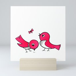 Cute little birds Mini Art Print