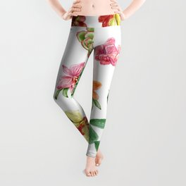 Watercolor Cactus on white background Leggings