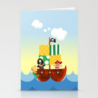pirate ship Stationery Cards featuring pirate ship by Alapapaju
