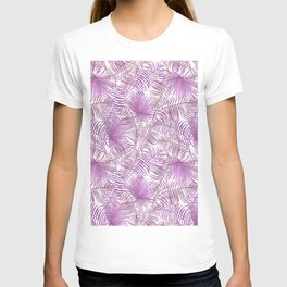 Pastel lilac pink watercolor tropical palm tree leaves T-shirt