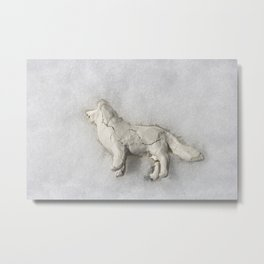 Clay Dog in the Snow Metal Print