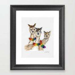 Rainbow Chakra Alpacas, Watercolor Framed Art Print