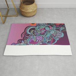 Detailed diagonal tangle, pink and purple Rug