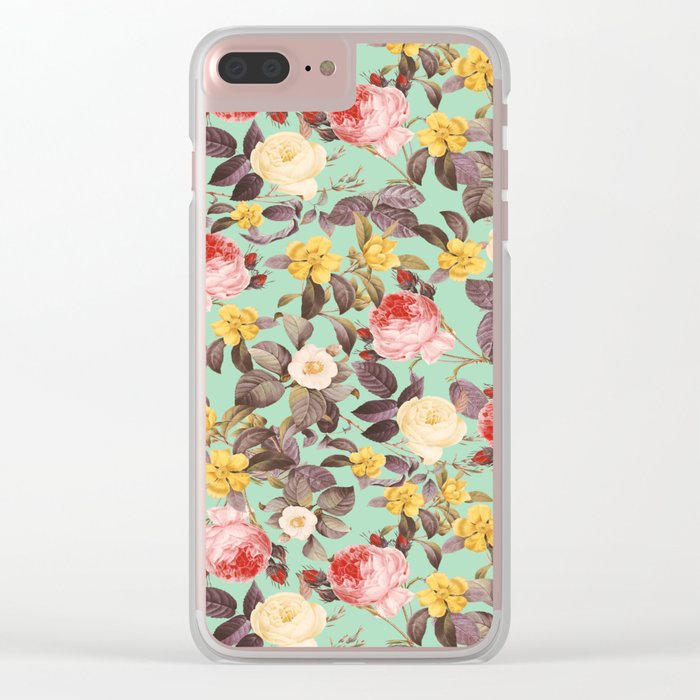 Classic Floral Pattern Clear iPhone Case