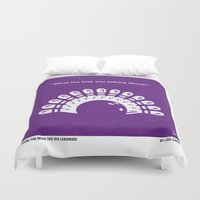 the big lebowski Duvet Covers featuring No010 My Big Lebowski minimal movie poster by Chungkong