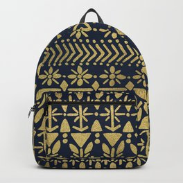 Norwegian Pattern – Gold on Navy Backpack