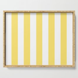 Shandy yellow - solid color - white vertical lines pattern Serving Tray