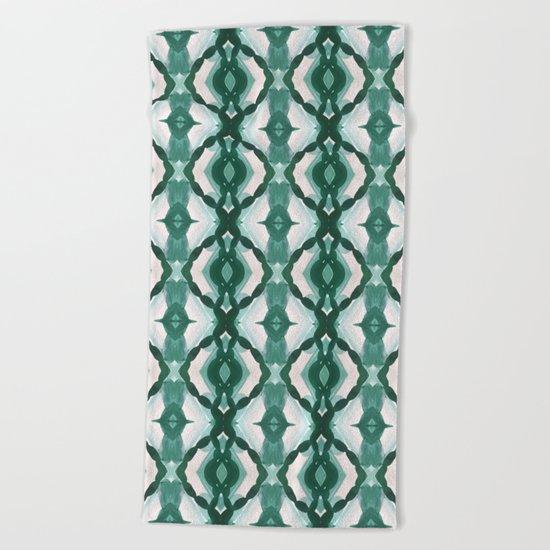 Watercolor Green Tile 1 Beach Towel