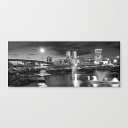 Tulsa BW Skyline and Downtown Evening Lights Panorama Canvas Print