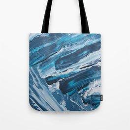 BLUE WAVES | Textured acrylic abstract art by Natalie Burnett Art Tote Bag