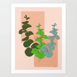 Three Colors Eucalyptus Minimal Art Print