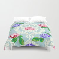 shabby chic Duvet Covers featuring Shabby Chic Rose Pattern by Figen Topbas