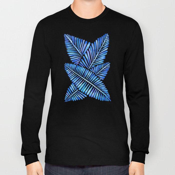 Tropical Banana Leaves – Blue Palette Long Sleeve T-shirt