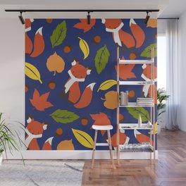 Fox Jumble - Blue Wall Mural