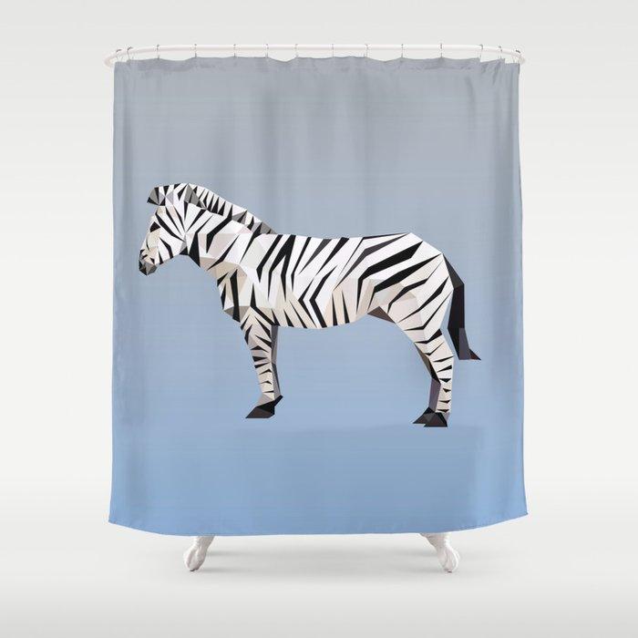Geometric Zebra Shower Curtain