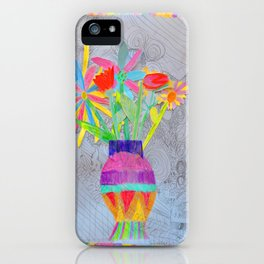 Flower Vase   Kids Painting   3D Collage iPhone Case